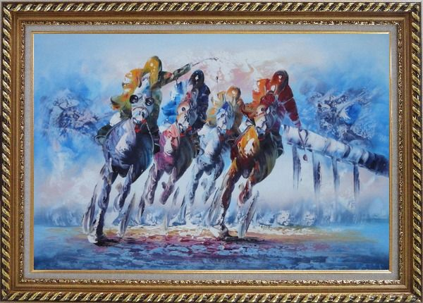Framed Spur on Galloping Horses in Racing Oil Painting Portraits Animal Modern Exquisite Gold Wood Frame 30 x 42 Inches