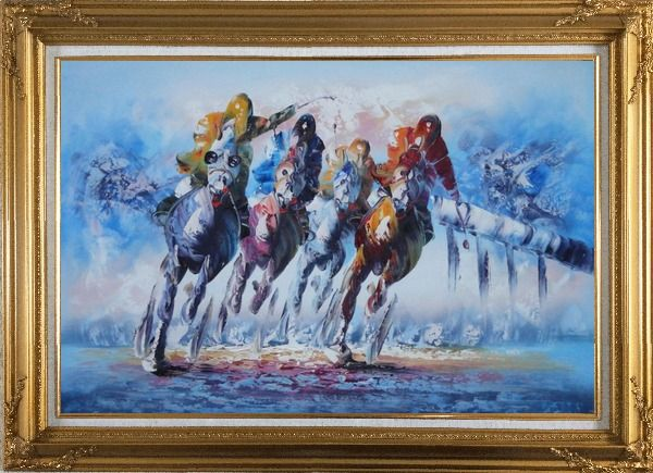 Framed Spur on Galloping Horses in Racing Oil Painting Portraits Animal Modern Gold Wood Frame with Deco Corners 31 x 43 Inches