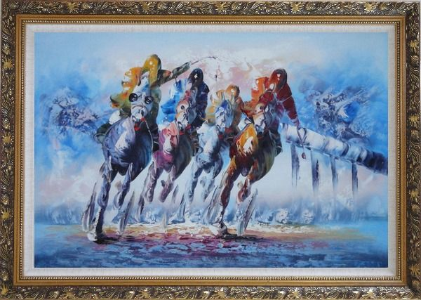 Framed Spur on Galloping Horses in Racing Oil Painting Portraits Animal Modern Ornate Antique Dark Gold Wood Frame 30 x 42 Inches