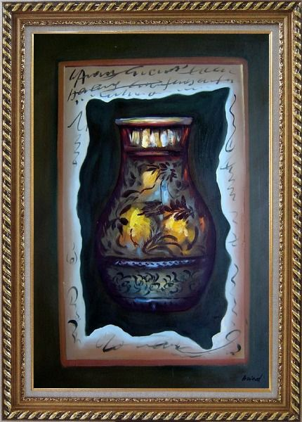 Framed Precious Vase Oil Painting Still Life Modern Exquisite Gold Wood Frame 42 x 30 Inches