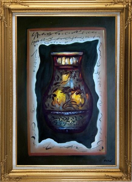 Framed Precious Vase Oil Painting Still Life Modern Gold Wood Frame with Deco Corners 43 x 31 Inches