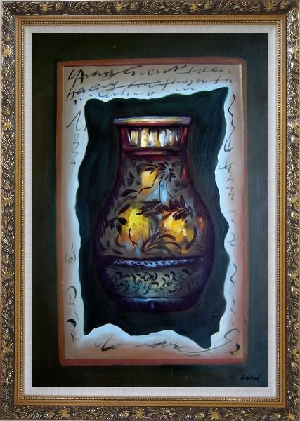 Framed Precious Vase Oil Painting Still Life Modern Ornate Antique Dark Gold Wood Frame 42 x 30 Inches
