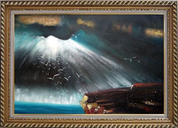 Framed Seagulls Flying around Rock Oil Painting Seascape Impressionism Exquisite Gold Wood Frame 30 x 42 Inches