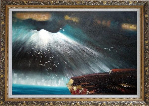 Framed Seagulls Flying around Rock Oil Painting Seascape Impressionism Ornate Antique Dark Gold Wood Frame 30 x 42 Inches