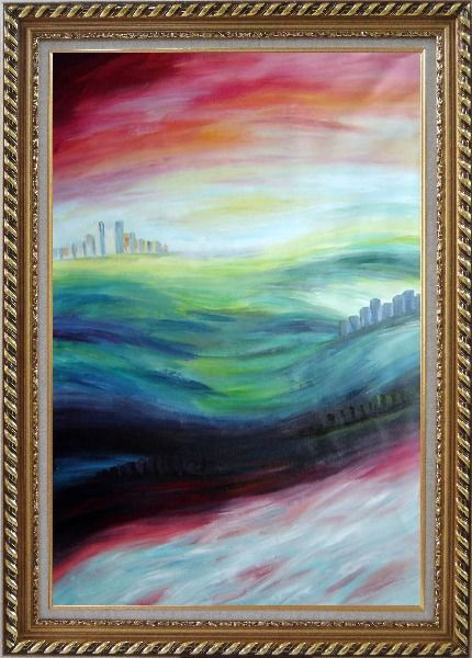 Framed City upon Hills Oil Painting Cityscape Modern Exquisite Gold Wood Frame 42 x 30 Inches