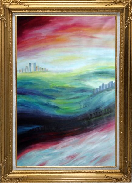 Framed City upon Hills Oil Painting Cityscape Modern Gold Wood Frame with Deco Corners 43 x 31 Inches