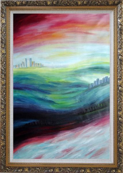 Framed City upon Hills Oil Painting Cityscape Modern Ornate Antique Dark Gold Wood Frame 42 x 30 Inches