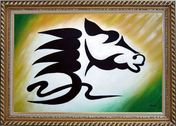 Framed A Galloping Horse Head Oil Painting Animal Modern Exquisite Gold Wood Frame 30 x 42 Inches