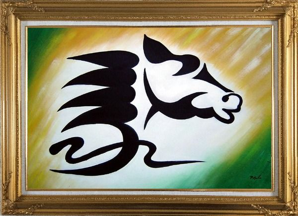 Framed A Galloping Horse Head Oil Painting Animal Modern Gold Wood Frame with Deco Corners 31 x 43 Inches