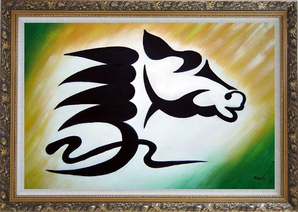 Framed A Galloping Horse Head Oil Painting Animal Modern Ornate Antique Dark Gold Wood Frame 30 x 42 Inches