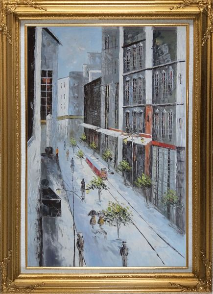 Framed Winter Snow Covered City Street at Christmas Time Oil Painting Cityscape America Impressionism Gold Wood Frame with Deco Corners 43 x 31 Inches