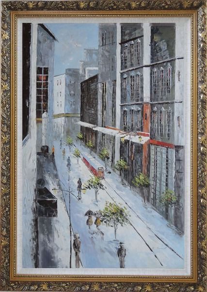 Framed Winter Snow Covered City Street at Christmas Time Oil Painting Cityscape America Impressionism Ornate Antique Dark Gold Wood Frame 42 x 30 Inches