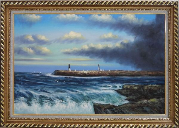 Framed Sea Waves, Birds and Boats at Coastline Oil Painting Seascape Naturalism Exquisite Gold Wood Frame 30 x 42 Inches