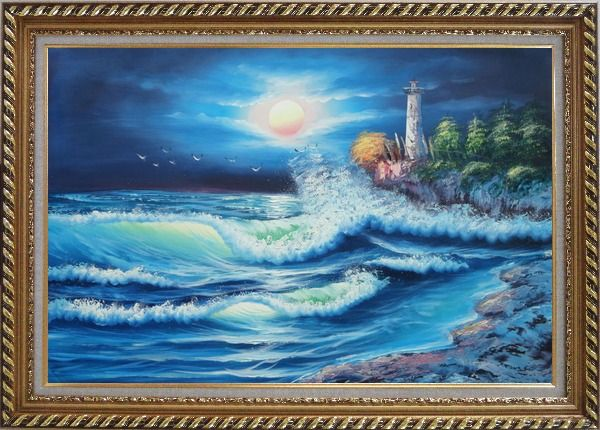 Framed Lighthouse, FLying Birds Under The Moonlight Oil Painting Seascape Naturalism Exquisite Gold Wood Frame 30 x 42 Inches