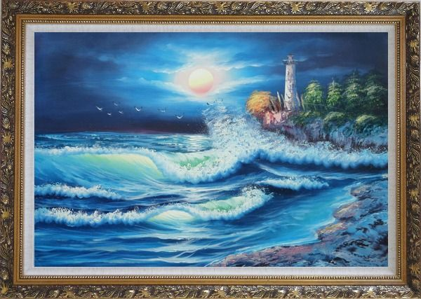 Framed Lighthouse, FLying Birds Under The Moonlight Oil Painting Seascape Naturalism Ornate Antique Dark Gold Wood Frame 30 x 42 Inches