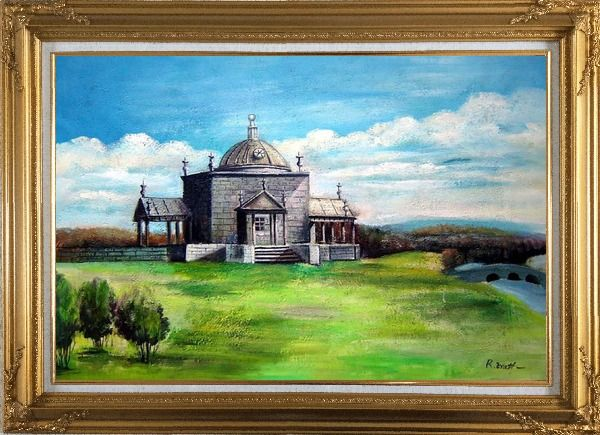 Framed Riverside Europe Old Architectural Oil Painting Village Naturalism Gold Wood Frame with Deco Corners 31 x 43 Inches