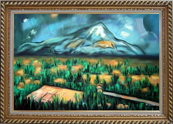 Framed Mont Sainte-Victorie Oil Painting Landscape Mountain Post Impressionism Exquisite Gold Wood Frame 30 x 42 Inches