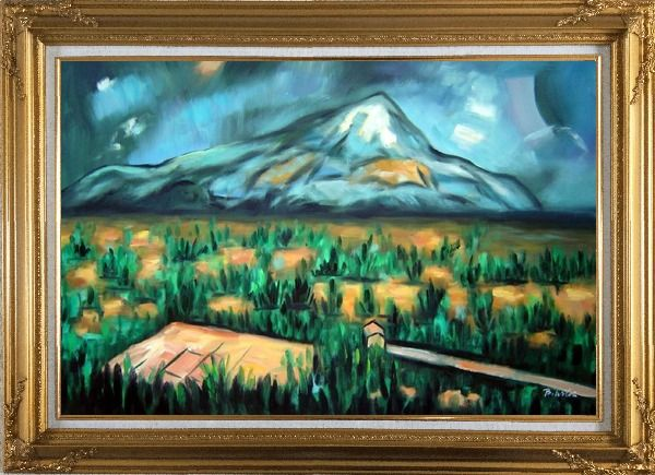 Framed Mont Sainte-Victorie Oil Painting Landscape Mountain Post Impressionism Gold Wood Frame with Deco Corners 31 x 43 Inches