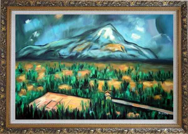 Framed Mont Sainte-Victorie Oil Painting Landscape Mountain Post Impressionism Ornate Antique Dark Gold Wood Frame 30 x 42 Inches