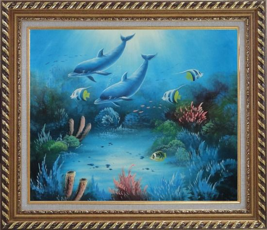 Framed magical underwater sea world oil painting animal for Sea life paintings artists