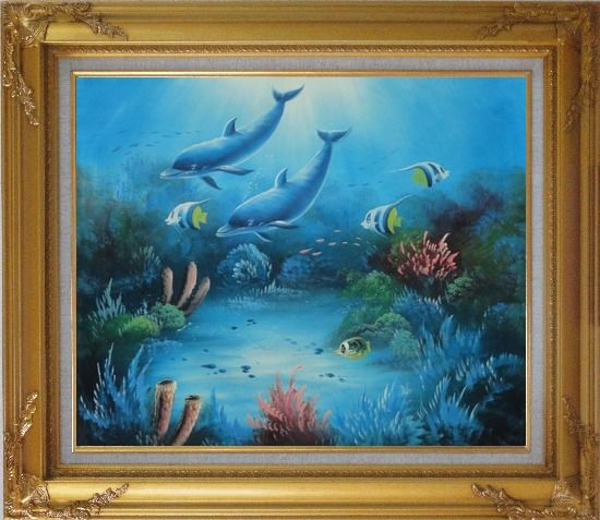 Framed Magical Underwater Sea World Oil Painting Animal Marine Life Dolphin Fish Naturalism Gold Wood Frame with Deco Corners 27 x 31 Inches
