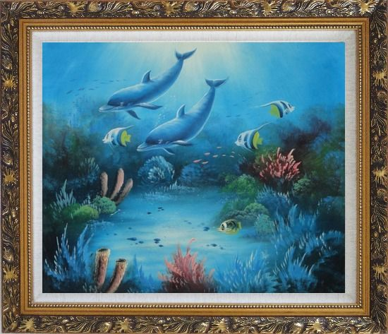 Framed Magical Underwater Sea World Oil Painting Animal Marine Life Dolphin Fish Naturalism Ornate Antique Dark Gold Wood Frame 26 x 30 Inches