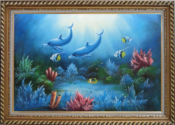 Framed Magical Underwater Sea World Oil Painting Animal Marine Life Dolphin Fish Naturalism Exquisite Gold Wood Frame 30 x 42 Inches