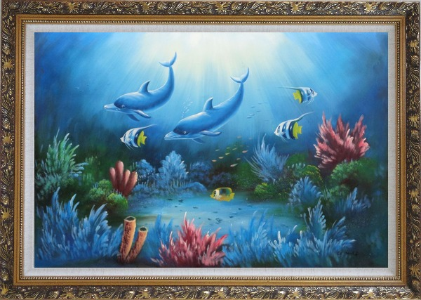 Framed Magical Underwater Sea World Oil Painting Animal Marine Life Dolphin Fish Naturalism Ornate Antique Dark Gold Wood Frame 30 x 42 Inches