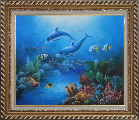Framed The Wonderful Sea World Oil Painting Animal Marine Life Dolphin Fish Naturalism Exquisite Gold Wood Frame 26 x 30 Inches
