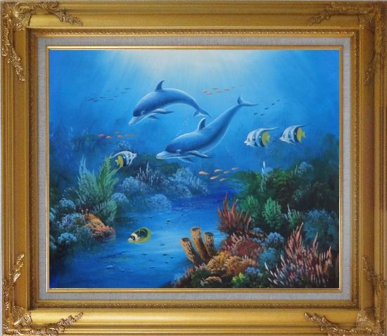 Framed The Wonderful Sea World Oil Painting Animal Marine Life Dolphin Fish Naturalism Gold Wood Frame with Deco Corners 27 x 31 Inches