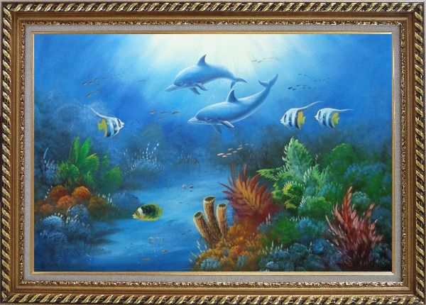 Framed The Wonderful Sea World Oil Painting Animal Marine Life Dolphin Fish Naturalism Exquisite Gold Wood Frame 30 x 42 Inches