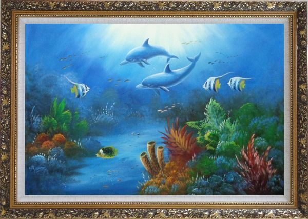 Framed The Wonderful Sea World Oil Painting Animal Marine Life Dolphin Fish Naturalism Ornate Antique Dark Gold Wood Frame 30 x 42 Inches