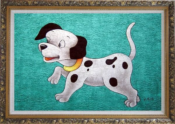 Framed Dog on Green Background Oil Painting Animal Modern Ornate Antique Dark Gold Wood Frame 30 x 42 Inches