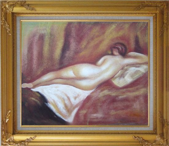 Framed Nude Female on Bed Oil Painting Portraits Woman Modern Gold Wood Frame with Deco Corners 27 x 31 Inches