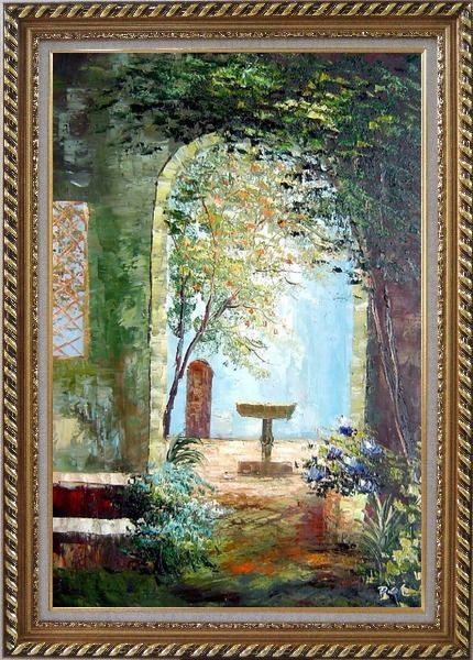 Framed Charming Seaside Garden Porch Oil Painting Impressionism Exquisite Gold Wood Frame 42 x 30 Inches