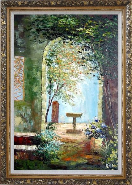 Framed Charming Seaside Garden Porch Oil Painting Impressionism Ornate Antique Dark Gold Wood Frame 42 x 30 Inches