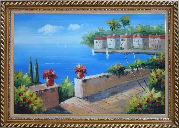 Framed Seashore Garden in Serenity Bay in Summer Oil Painting Mediterranean Naturalism Exquisite Gold Wood Frame 30 x 42 Inches