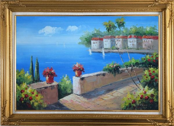 Framed Seashore Garden in Serenity Bay in Summer Oil Painting Mediterranean Naturalism Gold Wood Frame with Deco Corners 31 x 43 Inches