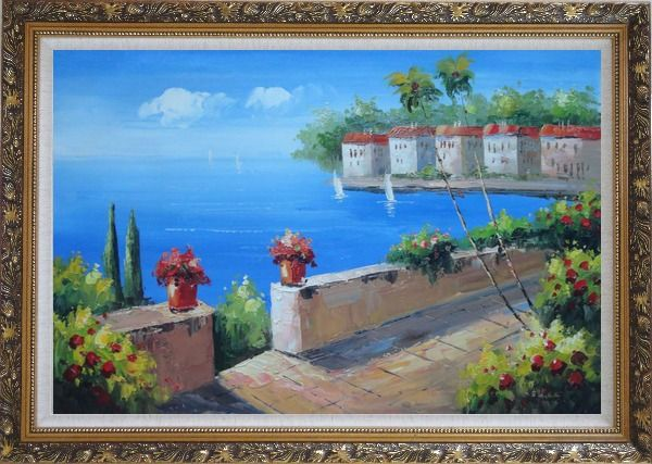 Framed Seashore Garden in Serenity Bay in Summer Oil Painting Mediterranean Naturalism Ornate Antique Dark Gold Wood Frame 30 x 42 Inches