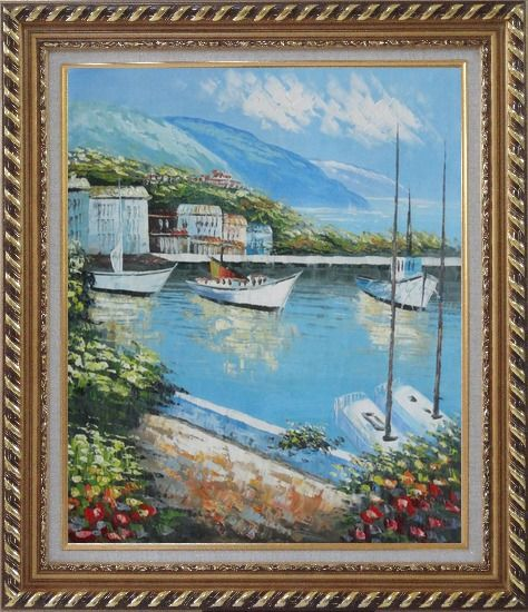 Framed Italian Island Coast Sailing Boat and Flowers Town Oil Painting Mediterranean Naturalism Exquisite Gold Wood Frame 30 x 26 Inches