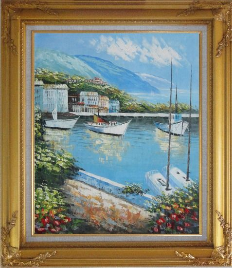 Framed Italian Island Coast Sailing Boat and Flowers Town Oil Painting Mediterranean Naturalism Gold Wood Frame with Deco Corners 31 x 27 Inches
