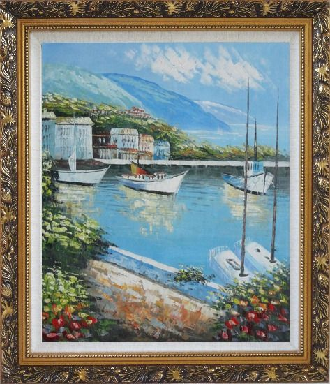Framed Italian Island Coast Sailing Boat and Flowers Town Oil Painting Mediterranean Naturalism Ornate Antique Dark Gold Wood Frame 30 x 26 Inches