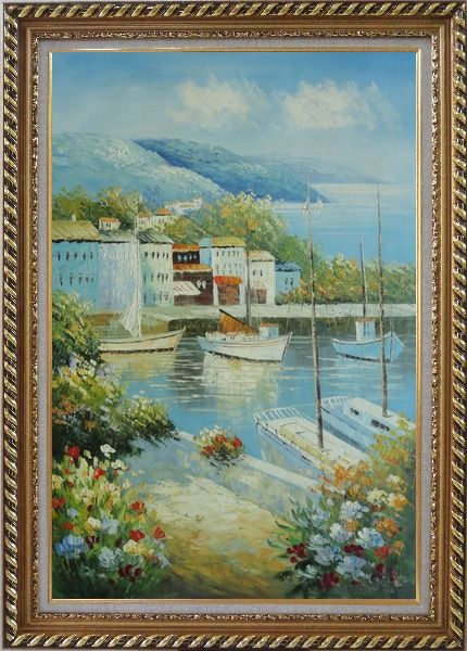 Framed Italian Island Coast Sailing Boat and Flowers Town Oil Painting Mediterranean Naturalism Exquisite Gold Wood Frame 42 x 30 Inches