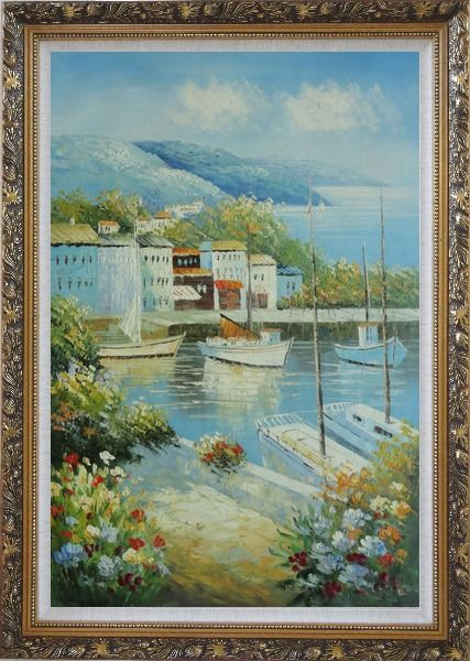 Framed Italian Island Coast Sailing Boat and Flowers Town Oil Painting Mediterranean Naturalism Ornate Antique Dark Gold Wood Frame 42 x 30 Inches