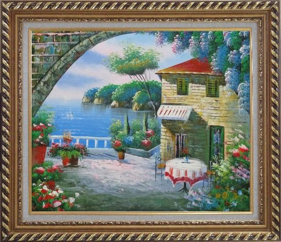 Framed Peaceful Moment Oil Painting Mediterranean Naturalism Exquisite Gold Wood Frame 26 x 30 Inches