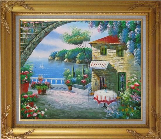 Framed Peaceful Moment Oil Painting Mediterranean Naturalism Gold Wood Frame with Deco Corners 27 x 31 Inches