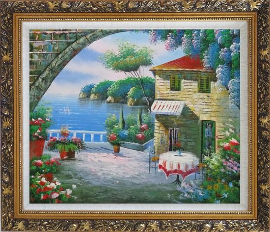 Framed Peaceful Moment Oil Painting Mediterranean Naturalism Ornate Antique Dark Gold Wood Frame 26 x 30 Inches