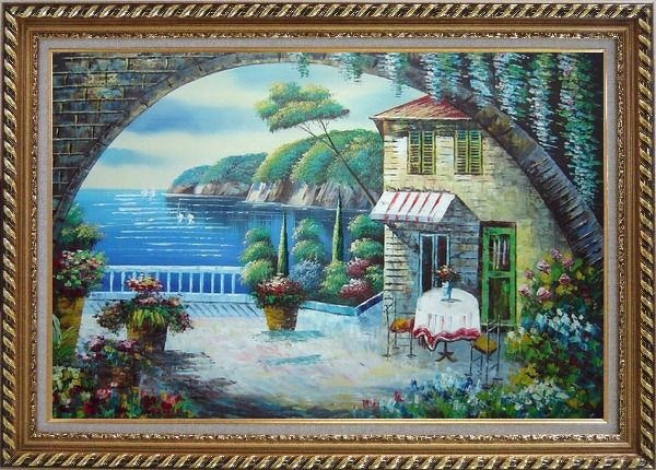 Framed Peaceful Moment Oil Painting Mediterranean Naturalism Exquisite Gold Wood Frame 30 x 42 Inches