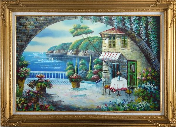 Framed Peaceful Moment Oil Painting Mediterranean Naturalism Gold Wood Frame with Deco Corners 31 x 43 Inches