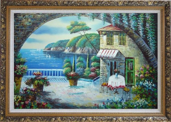 Framed Peaceful Moment Oil Painting Mediterranean Naturalism Ornate Antique Dark Gold Wood Frame 30 x 42 Inches